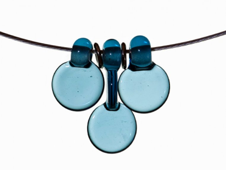 3 Disc Necklace & Earrings Set by FormFire Glassworks - 7