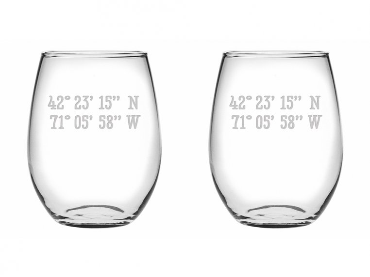 Sand Etched Latitude and Longitude Stemless Wine Glass by Susquehanna Glass Company - 4