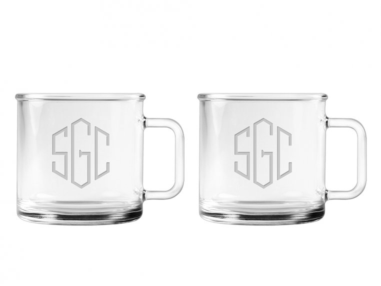 Hand Cut Monogram Camp Mug - Set of 2 by Susquehanna Glass Company - 4