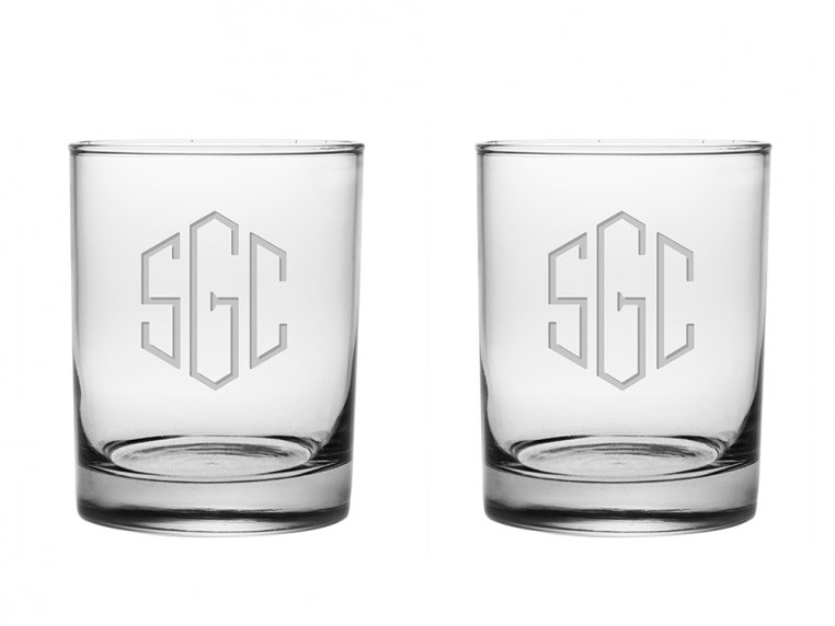 Hand Cut Monogram Rocks Glass - Set of 2 by Susquehanna Glass Company - 4
