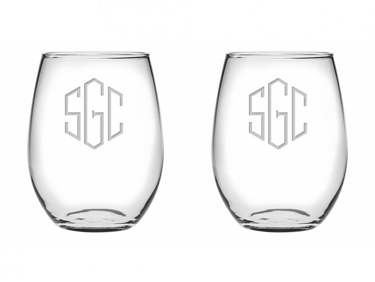Hand Cut Monogram Stemless Wine Glass - Set of 2 by Susquehanna Glass Company - 4