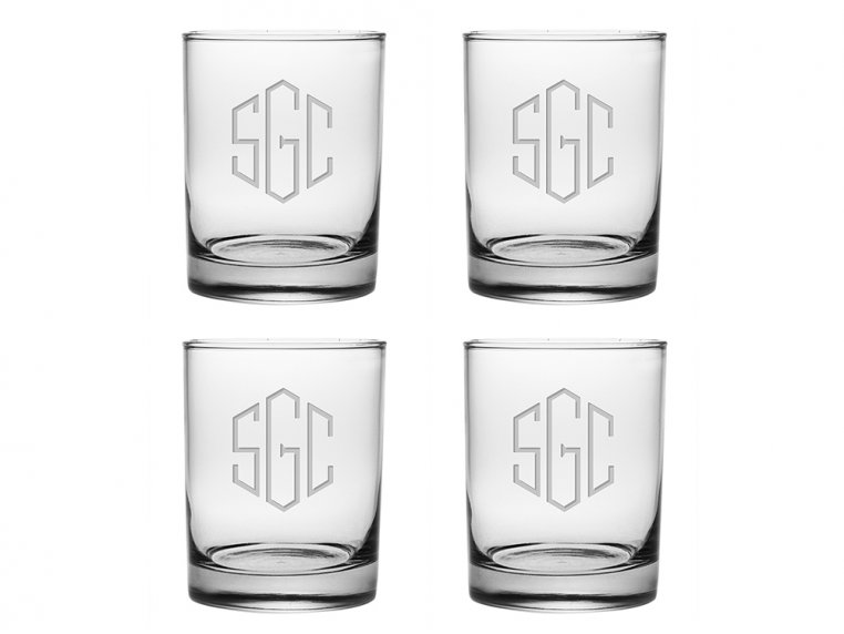 Hand Cut Monogram Rocks Glass - Set of 4 by Susquehanna Glass Company - 4