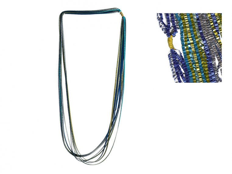 Multicolor Pleated Necklace by Minimum Design - 8