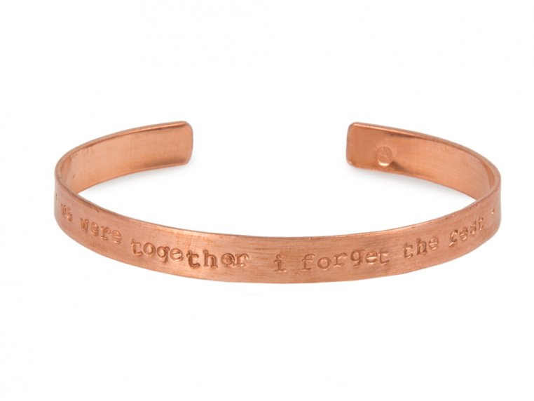 Thin Copper Quote Cuff by Alloy Jewelry - 8
