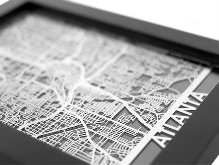 Stainless Steel City Map by Cut Maps - 24