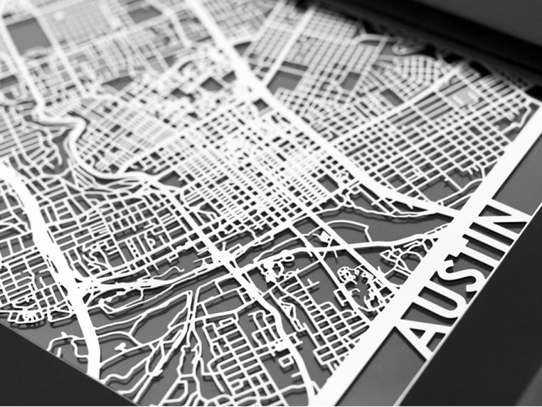 Stainless Steel City Map by Cut Maps - 26