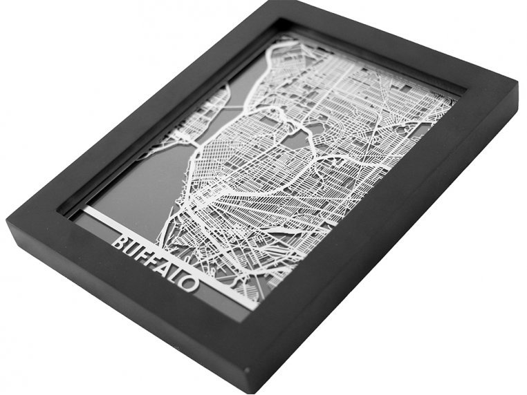 Stainless Steel City Map by Cut Maps - 31