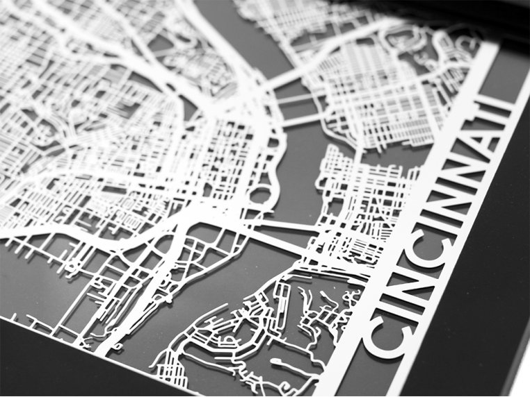 Stainless Steel City Map by Cut Maps - 32