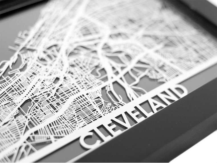 Stainless Steel City Map by Cut Maps - 38