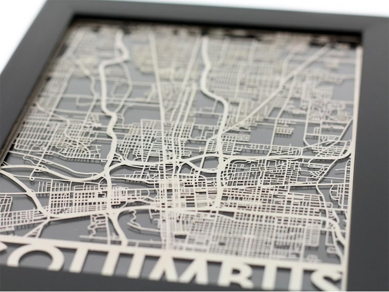 Stainless Steel City Map by Cut Maps - 36