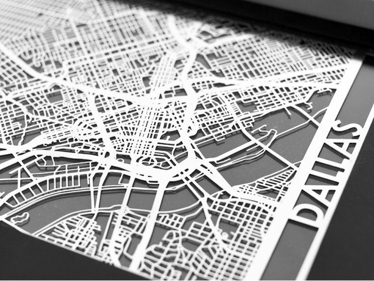 Stainless Steel City Map by Cut Maps - 42
