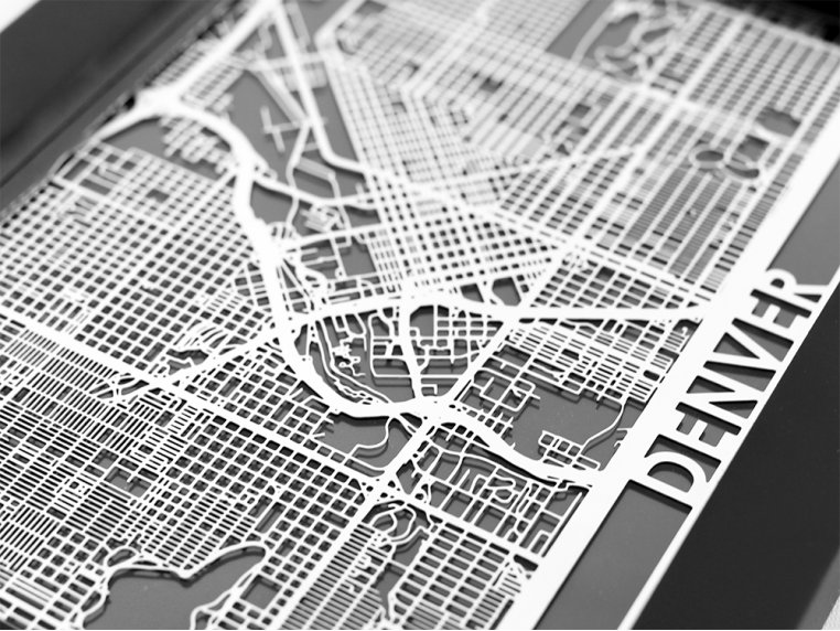 Stainless Steel City Map by Cut Maps - 44