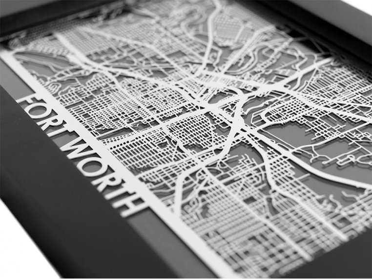 Stainless Steel City Map by Cut Maps - 46