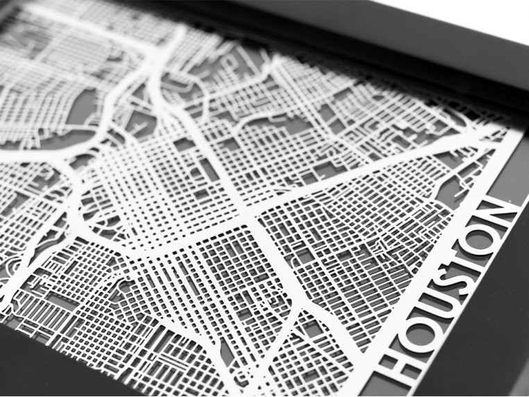 Stainless Steel City Map by Cut Maps - 48