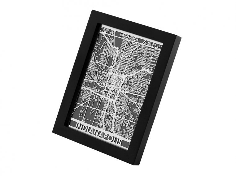 Stainless Steel City Map by Cut Maps - 49