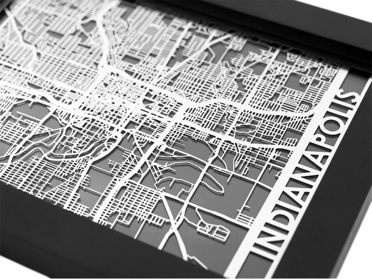 Stainless Steel City Map by Cut Maps - 50