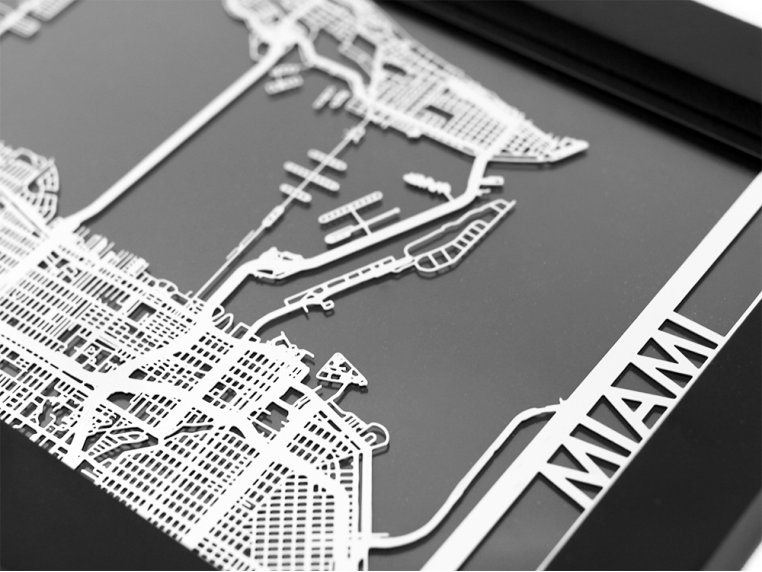 Stainless Steel City Map by Cut Maps - 52