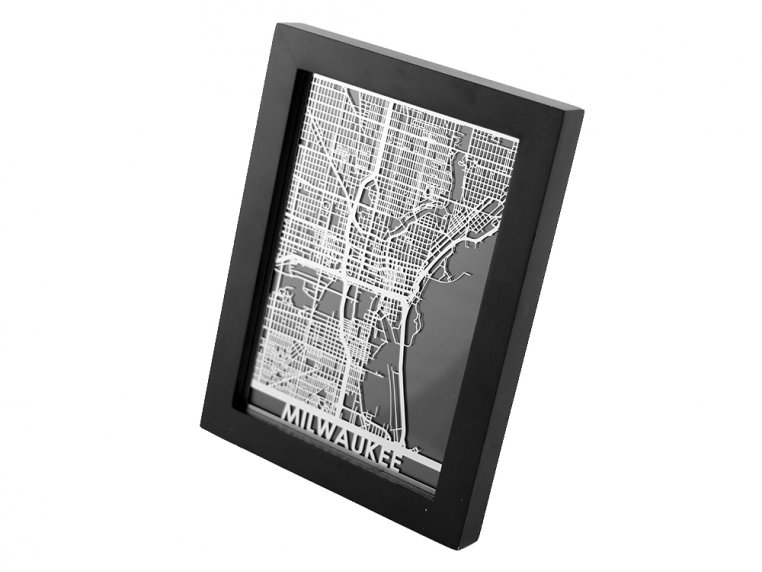 Stainless Steel City Map by Cut Maps - 55