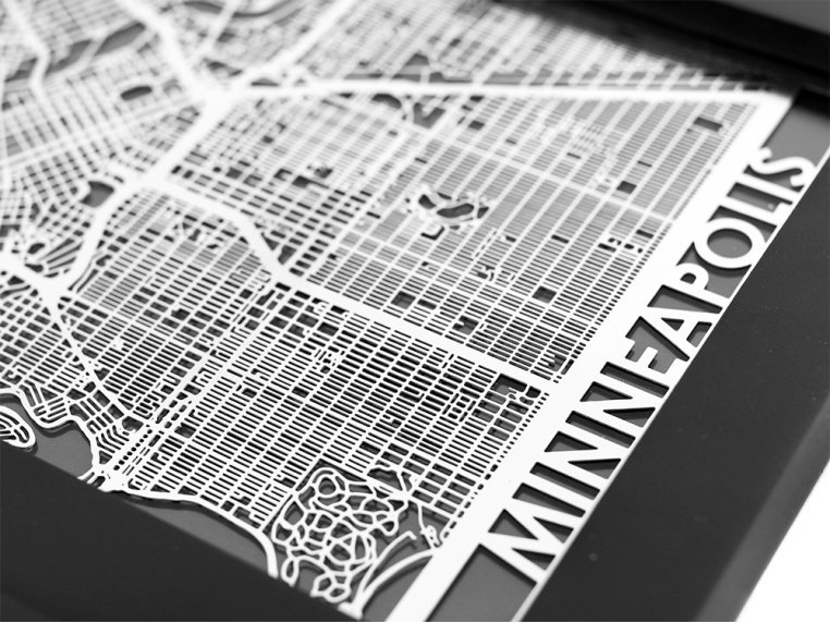 Stainless Steel City Map by Cut Maps - 62