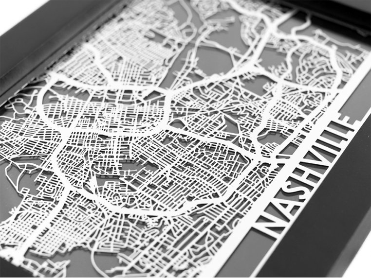 Stainless Steel City Map by Cut Maps - 64
