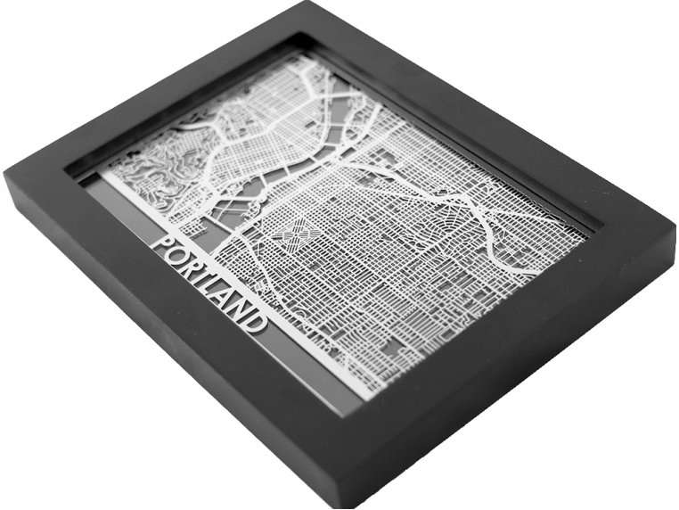 Stainless Steel City Map by Cut Maps - 65