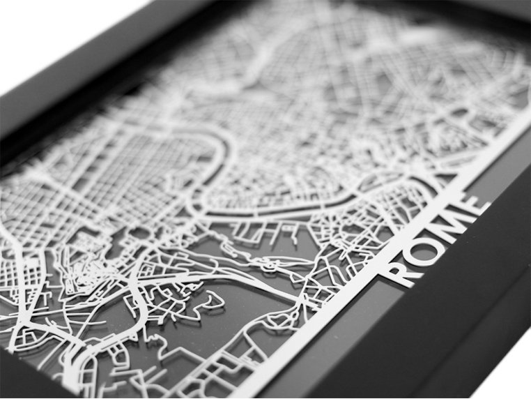 Stainless Steel City Map by Cut Maps - 66