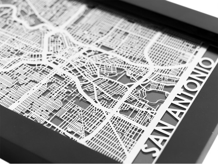 Stainless Steel City Map by Cut Maps - 72