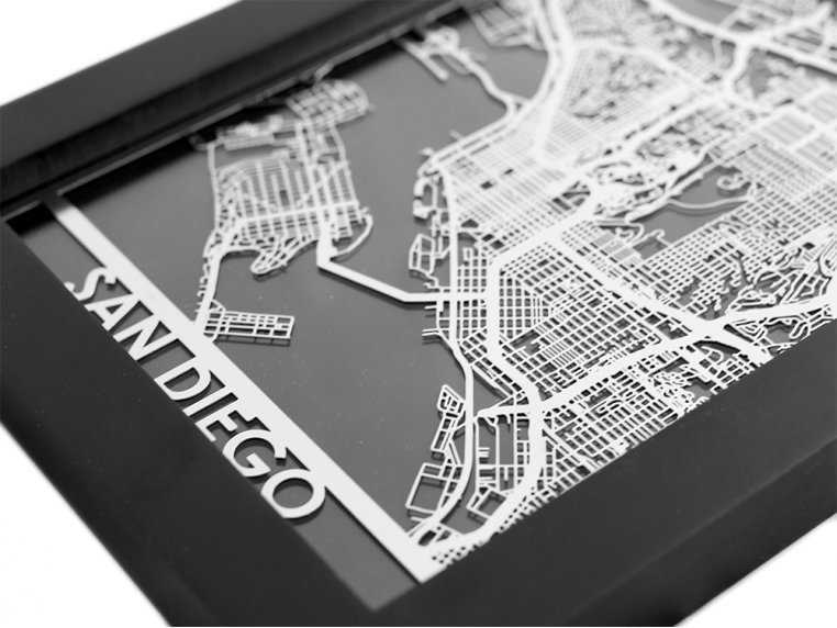 Stainless Steel City Map by Cut Maps - 76