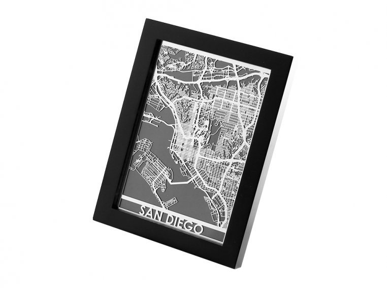 Stainless Steel City Map by Cut Maps - 75
