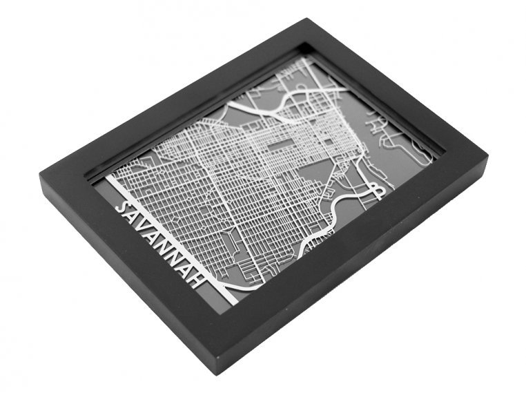 Stainless Steel City Map by Cut Maps - 77