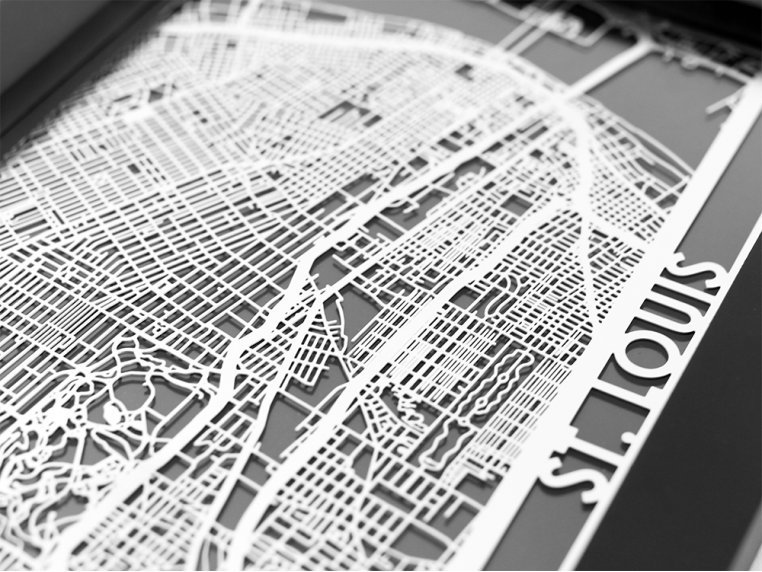 Stainless Steel City Map by Cut Maps - 78