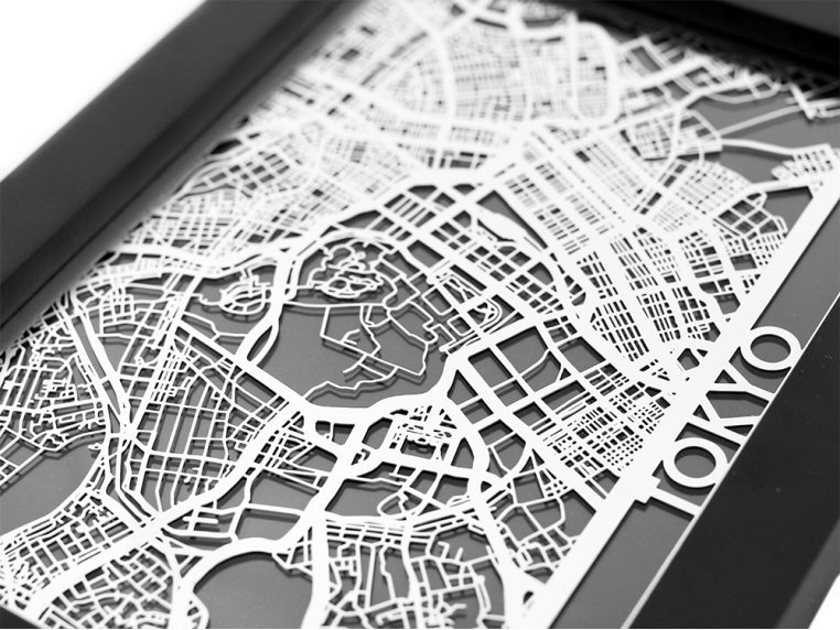 Stainless Steel City Map by Cut Maps - 84