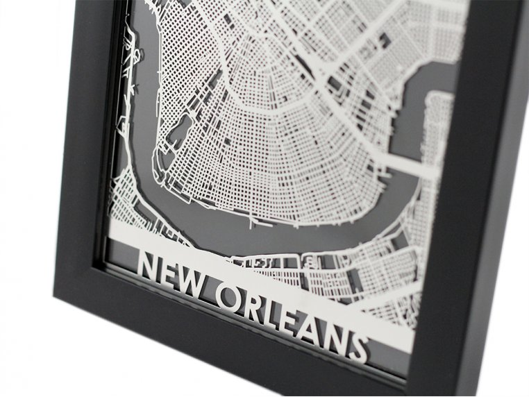 Stainless Steel City Map by Cut Maps - 12