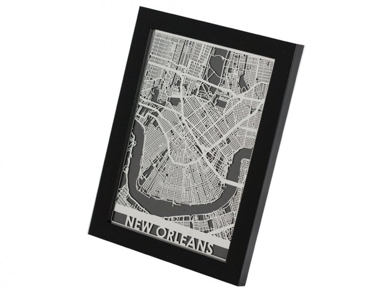 Stainless Steel City Map by Cut Maps - 15