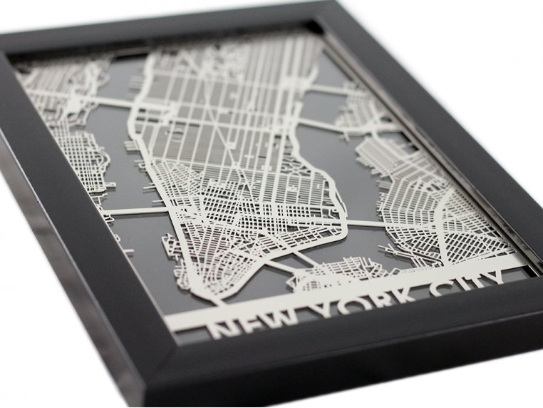 Stainless Steel City Map by Cut Maps - 5