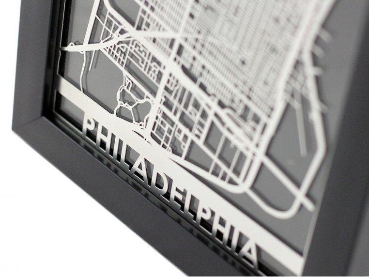 Stainless Steel City Map by Cut Maps - 9