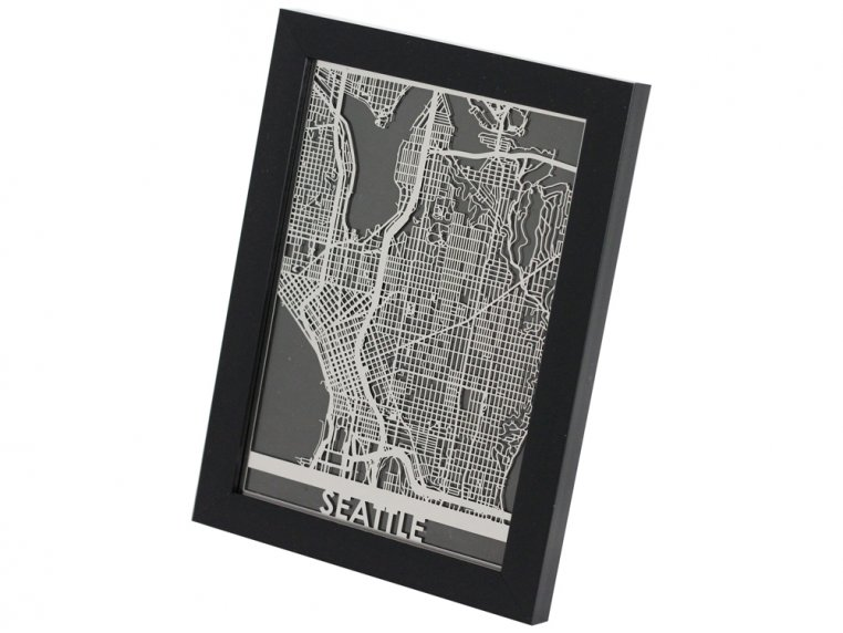 Stainless Steel City Map by Cut Maps - 19