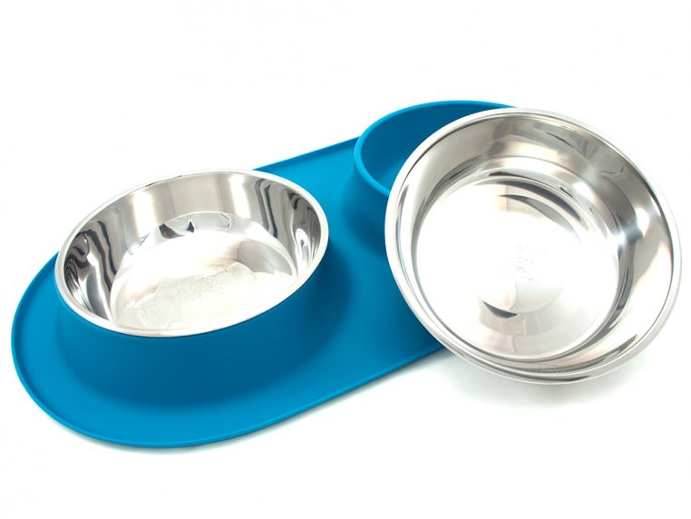 Dog Double Feeder Bowl - XL - Blue by Messy Mutts - 1