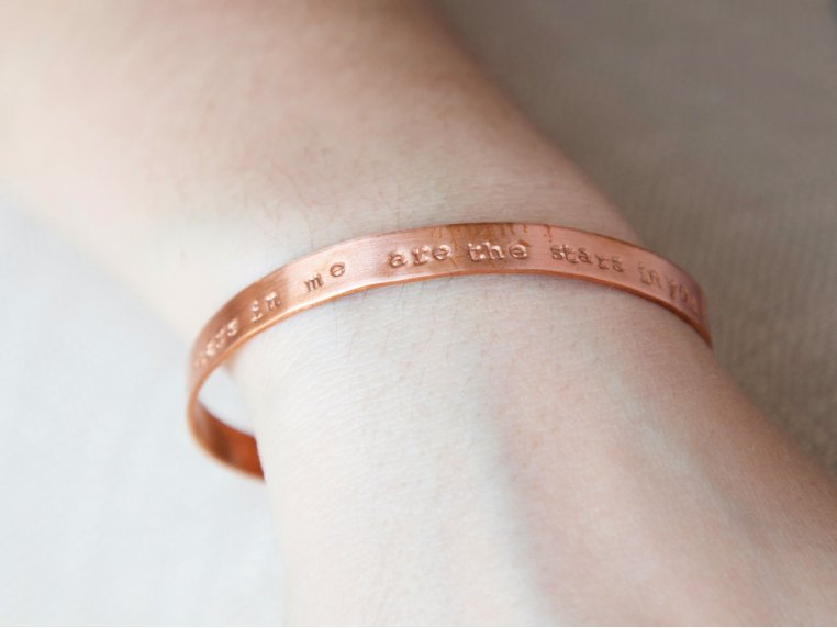 Thin Copper Quote Cuff by Alloy Jewelry - 2