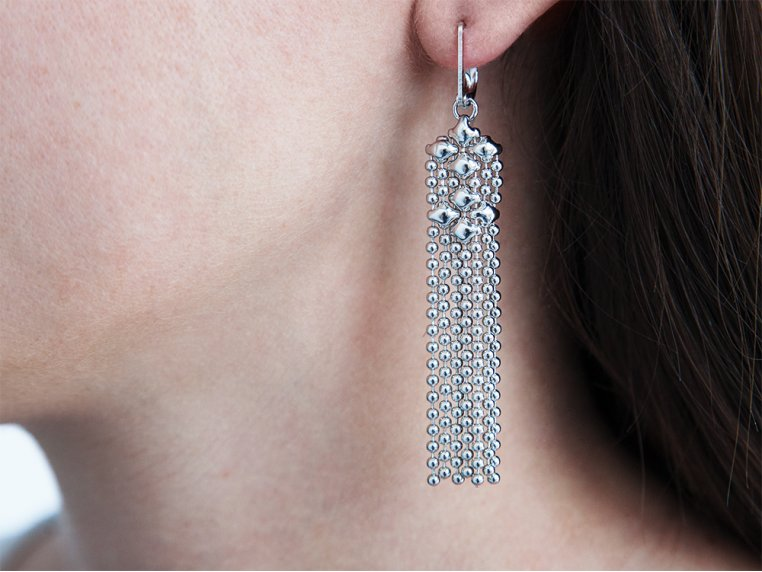 Mesh Fringe Chandelier Earrings by Liquid Metal - 1