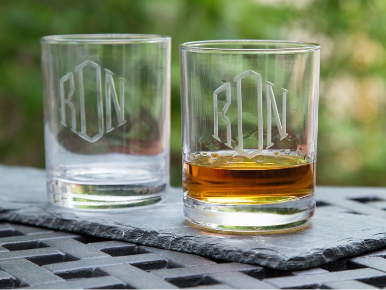 Hand Cut Monogram Rocks Glass - Set of 2 by Susquehanna Glass Company - 1