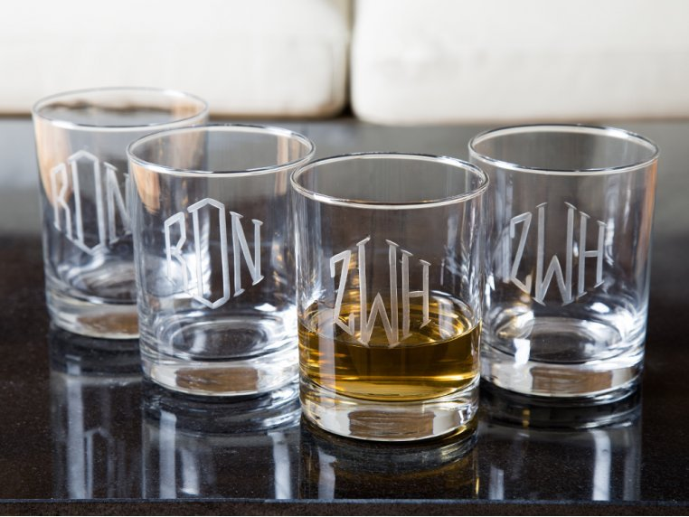 Hand Cut Monogram Rocks Glass - Set of 4 by Susquehanna Glass Company - 1