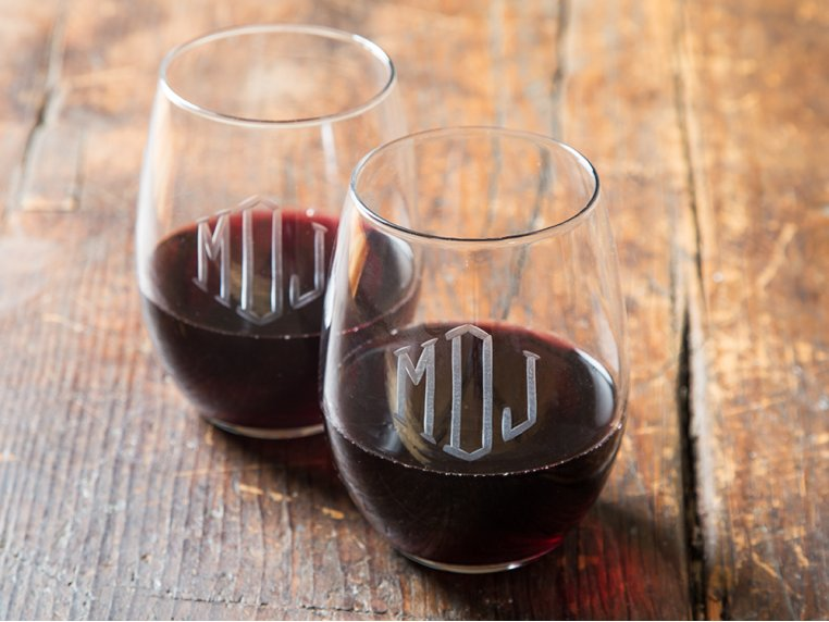 Hand Cut Monogram Stemless Wine Glass - Set of 2 by Susquehanna Glass Company - 1