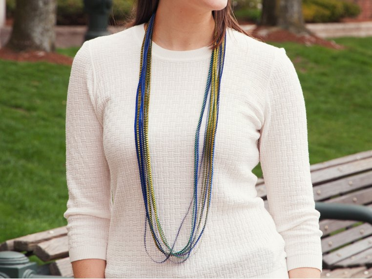 Multicolor Pleated Necklace by Minimum Design - 2