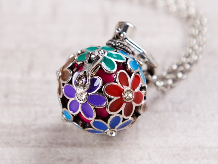 Painted Flowers Angel Locket by Yourself Expression - 1