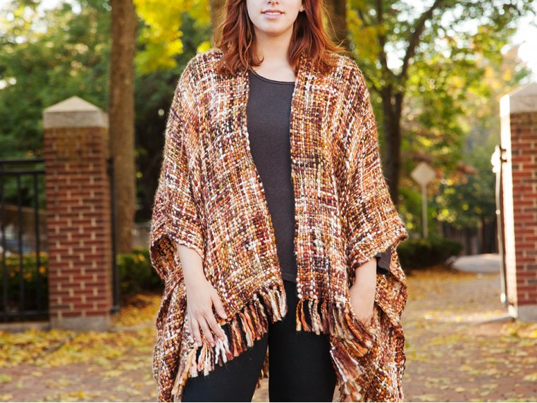 Chunky Knit Ruana - Brown by Rising Tide - 1