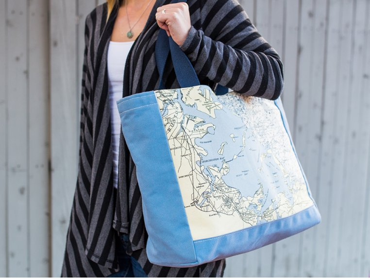 Custom Nautical Side Tote by Not for Navigation - 1