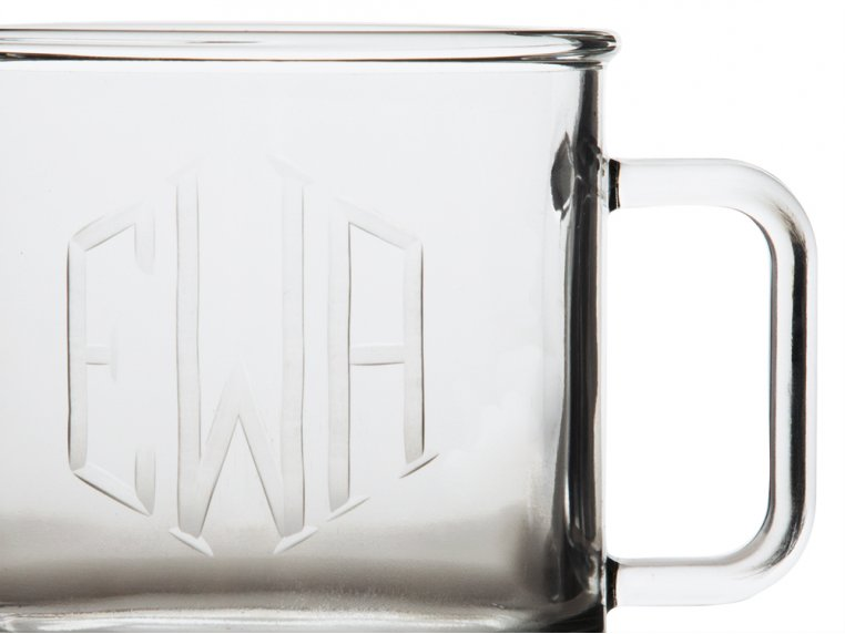 Hand Cut Monogram Camp Mug - Set of 2 by Susquehanna Glass Company - 3