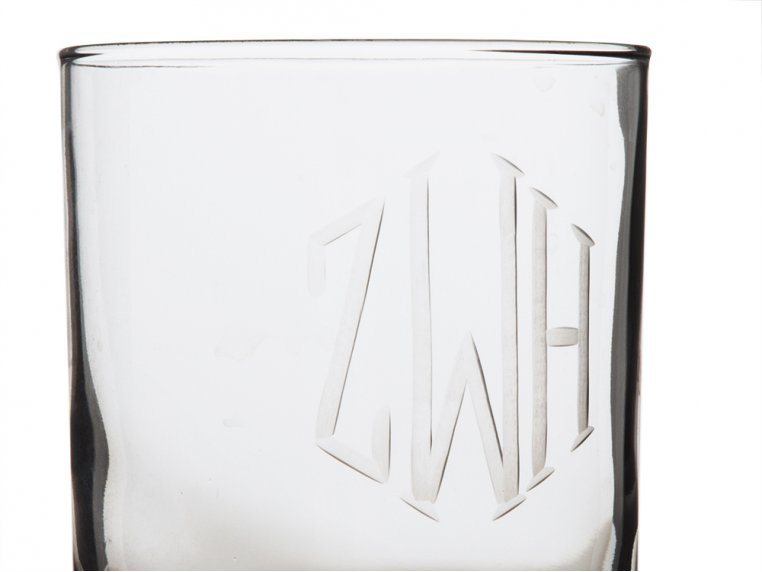 Hand Cut Monogram Rocks Glass - Set of 4 by Susquehanna Glass Company - 3