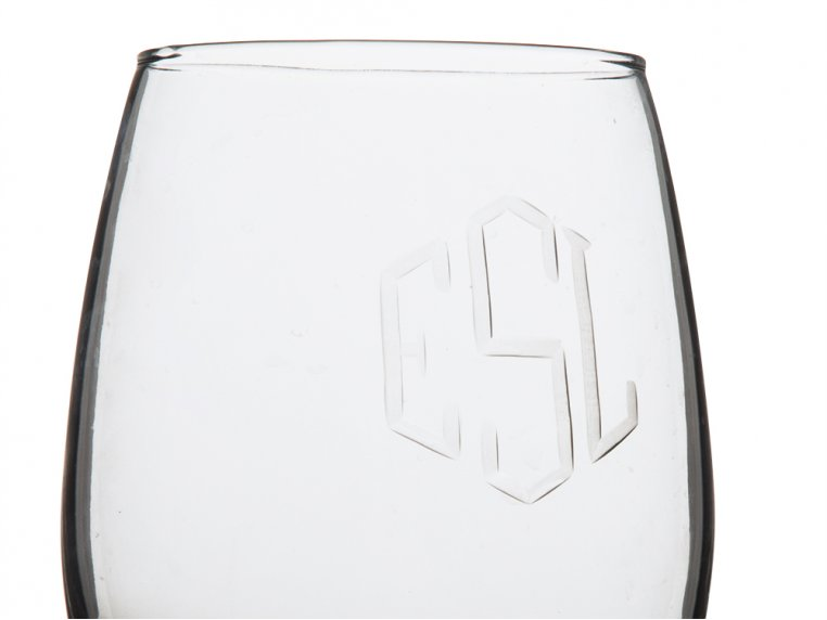 Hand Cut Monogram Stemless Wine Glass - Set of 2 by Susquehanna Glass Company - 3